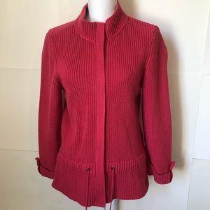 Christopher & Banks pink zipper sweater womens med
